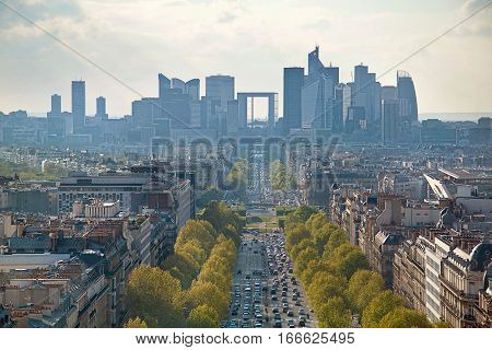 Panoramic View On Paris From Triumphal Arch On Defence. France, Europe.