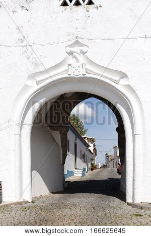 Entrance door in the castle of Redondo Alentejo region Portugal