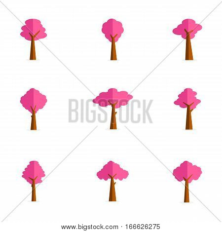 Collection stock of pink tree vector flat