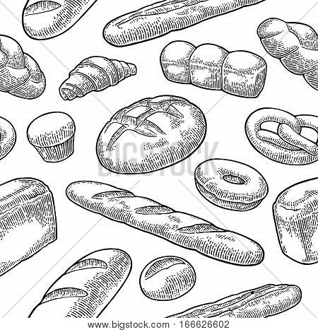 Seamless Pattern with Bread. Isolated on the white background. Vector black hand drawn vintage engraving illustration for poster label and menu bakery shop.