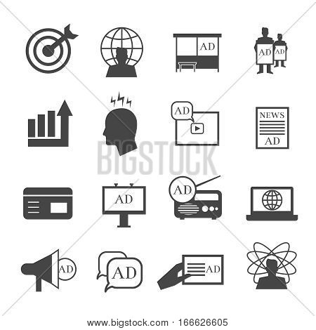 Marketing icons. Market sales and representative vector signs. Business and advertisement promotion illustration