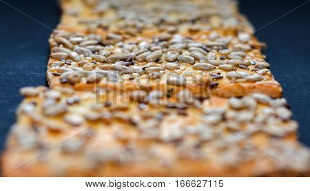 Cookie with seeds. Shallow depth of field Close up macro view.