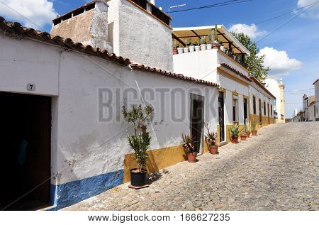 Redondo village streets near the door enters the Castle Alentejo Region Portugal