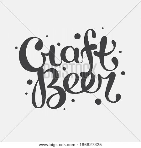 Hand drawn handmade monochrome lettering beer badge. Text Craft beer. Logo template and design element for bar, pub, menu, store, beer house, brew company, restaurant.