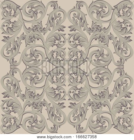 Vintage Baroque damask floral pattern Imperial style. Vector decor background. Luxury Classic ornament. Royal Victorian texture for wallpapers, textile, fabric. Taupe nude color