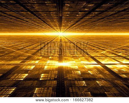 Technology fractal background - abstract computer-generated image. Digital art: textured planes stretching to the horizon. Golden tech backdrop for web design, covers, posters.