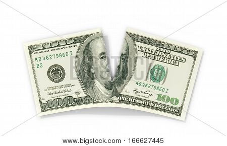 Torn Dolar on a white background. 3D illustration.