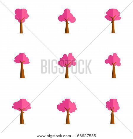 Vector art of tree set collection stock