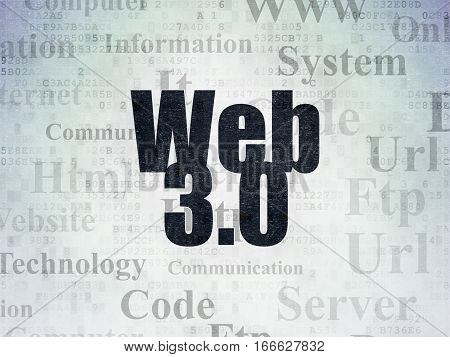Web design concept: Painted black text Web 3.0 on Digital Data Paper background with   Tag Cloud