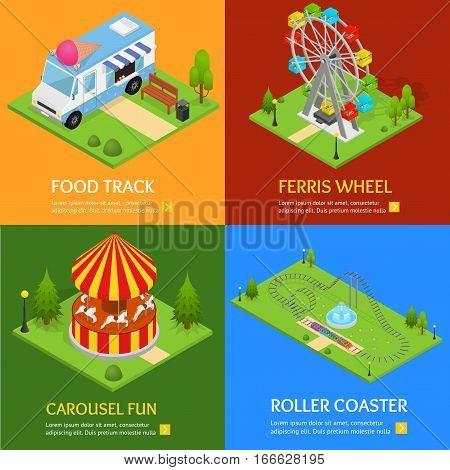 Amusement Park Banner Card Set Design Element for Urban Landscape Leisure and Recreation for Family. Vector illustration