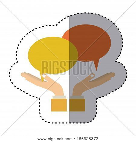 silhouette monochrome with callout for dialogue vector illustration