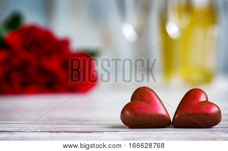 Hearts, roses and champagne for Valentines Day