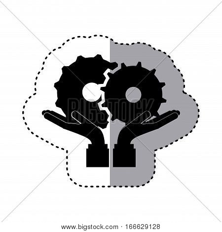 sticker silhouette of hands holding a gear wheel icon vector illustration
