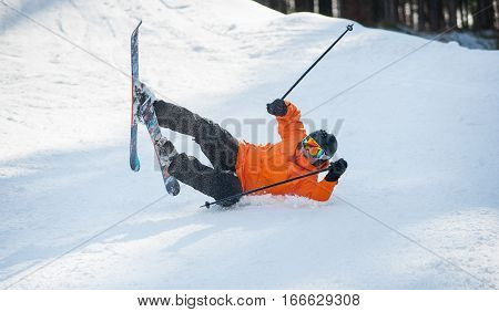 Skier Fell In Snow During The Descent From Mountain