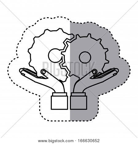 sticker contour of hands holding a gear wheel icon vector illustration