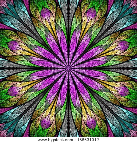 Multicolored fractal flower in stained glass window style. You can use it for invitations notebook covers phone case postcards cards wallpapers and so on.