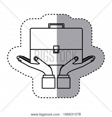 sticker contour of travel suitcase vector illustration