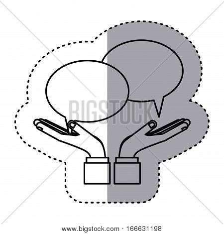 sticker contour with callout for dialogue vector illustration