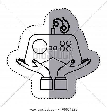 sticker contour with games remote control vector illustration