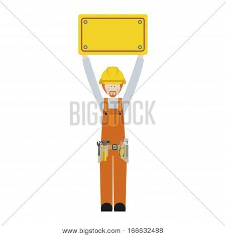 worker with toolkit and plaque up with blond hair vector illustration