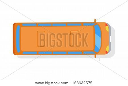 Bus isolated vector icon on white background. View from above. Orange autobus, top, passenger, transportation, public transport. Single illustration object. For poster, postcard, ad website banner