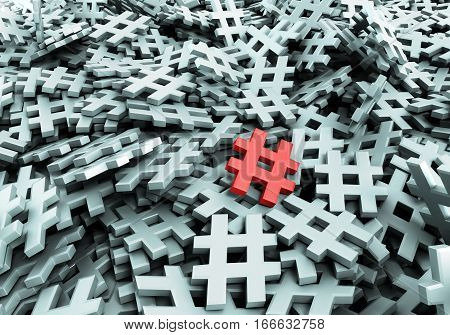 Infinite hashtags original 3d rendering illustration image