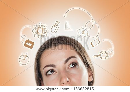 The conceptual image of business woman thinking about many ideas.