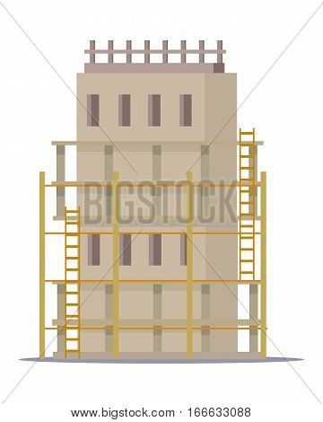 Building construction process. Building of skyscraper. Mock-up of home building. House under development in flat design. Project of house building. Construction of first level. Vector illustration