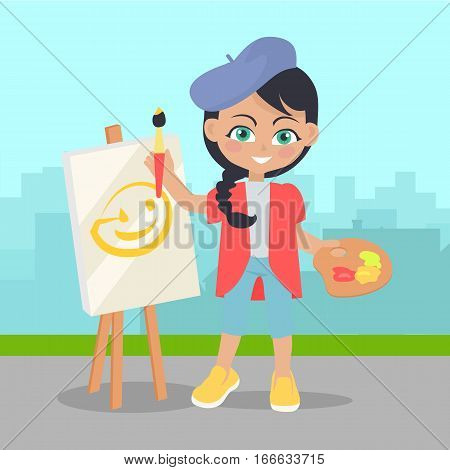 Girl drawing on easel on the landscape of urban city. Adorable little girl leisure time. Young painter drawing. Toddler at playground draws picture, flat style design. Daily activity. Vector