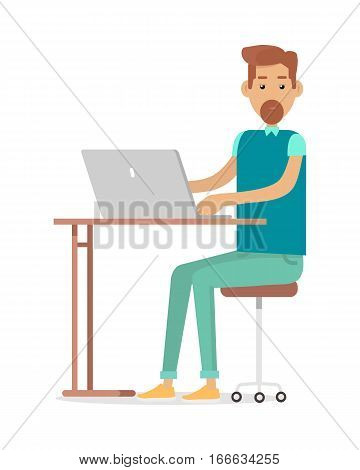 Man with beard sitting at desk and working on notebook computer. Workplace, make money online, e-business, e-learning, concept. Man busy working on laptop computer. Illustration in flat style. Vector