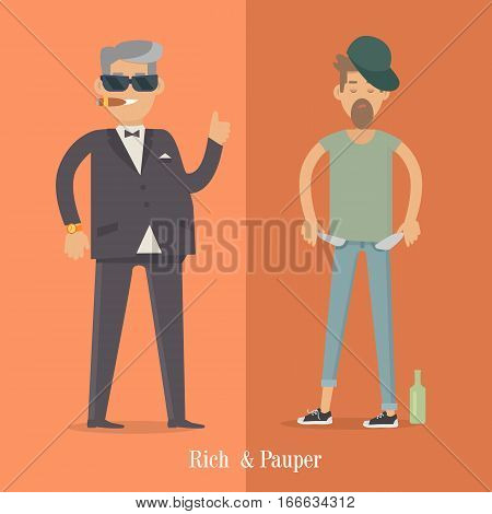 Rich and pauper men. Vector illustration of differences between social levels of population. Successful and unfortunate, luxury and poverty, businessman and pleb. Can be used as social poster, banner.