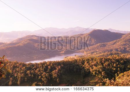 Small dam with mountain range and blue sky background at Mae KhachanWiang Pa PaoChiang Rai ProvinceThailand