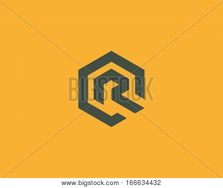 Abstract letter R vector logotype. Line hexagon creative simple logo design template. Universal geometric symbol font icon