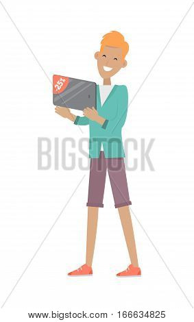 Man buys digital tablet at discount price. Illustration in flat style design. Household appliances sale. Best price on tablets. Tablet computer thin, flat mobile computer with a touch screen display.