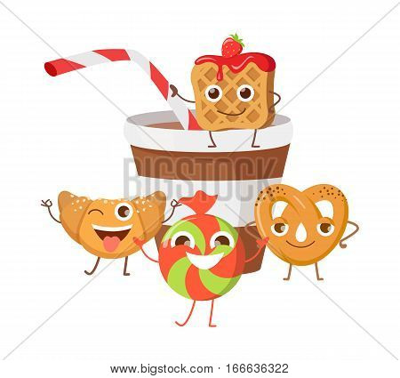 Bon appetit. Funny cartoon characters banner. Cupcake, doughnut, chocolate biscuit, cookies, cup of cola or soda. Smiling confectionery. Set of sweets in flat style design. Confection illustration