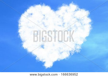 Abstract Heart Filled Love Concept Draw On The Blue Sky With White Clouds Background With Alpha Chan