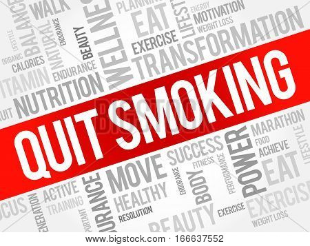 Quit Smoking word cloud , health concept