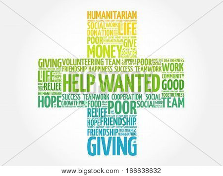 Help Wanted word cloud collage, social concept background