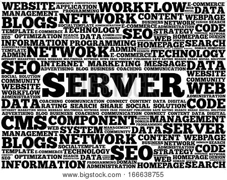 Server word cloud , technology concept background