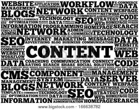 CONTENT word cloud, technology business concept background