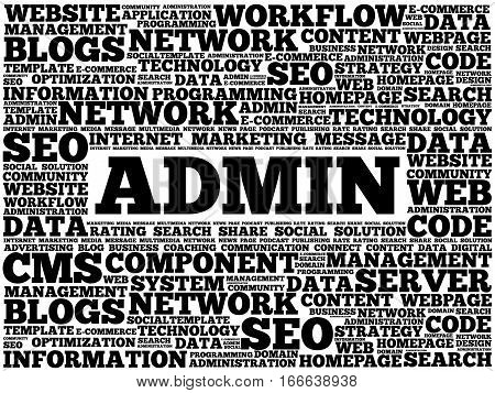 ADMIN word cloud collage, technology business concept background