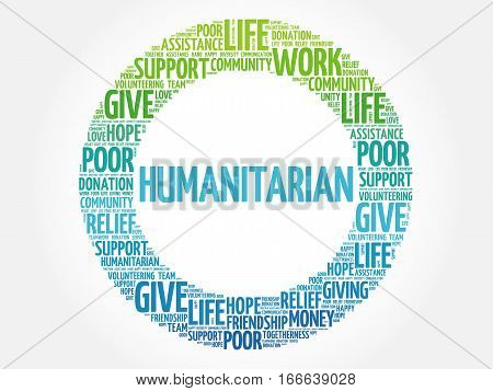 Humanitarian word cloud collage , social concept background