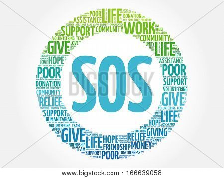 SOS word cloud collage , social concept background