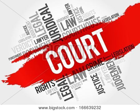 Court word cloud collage , social concept background