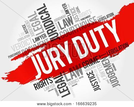 Jury Duty word cloud collage , law concept background