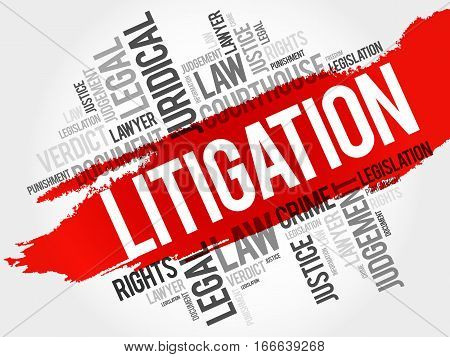 Litigation word cloud collage , social concept background