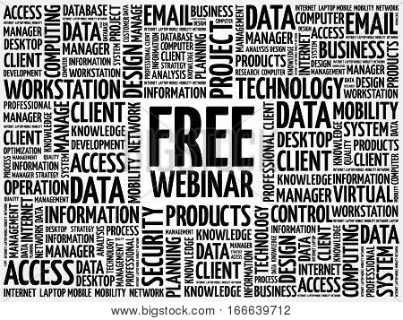Free Webinar word cloud, technology business concept background