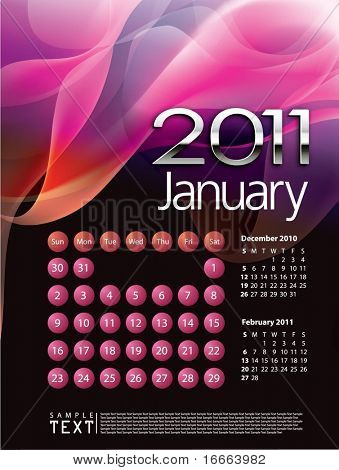 2011 Calendar January