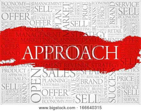 Approach word cloud collage, business concept background