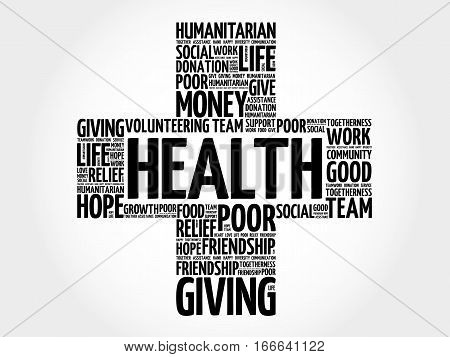 Health cross word cloud collage , social concept background